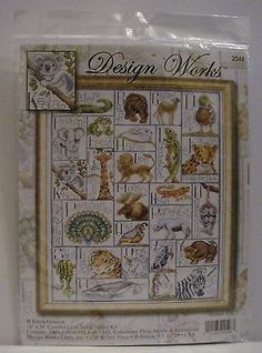 Design Works Animal ABC Cross Stitch Kit Learn the Alphabet Giraffe Lion Frog