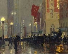 """huariqueje: """"Times Square at Night, New York - Charles Hoffbauer, c.1920 American, 1864 - 1923 Oil on canvas, 14 ½ 20 ½ in. """""""