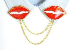 red lips jewelry  cardigan clip  collar pins  collar brooch
