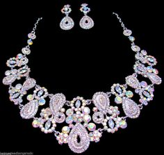 AB Crystal Rhinestone Bridal Wedding Prom Necklace Earrings Set