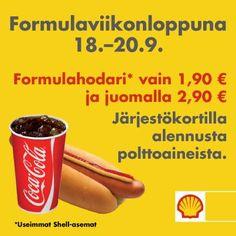 Formulaviikonlopun 18.-20.9. hodaritarjous FHRA:n jäsenille! #St1 #shellhuoltoasema #hotdog
