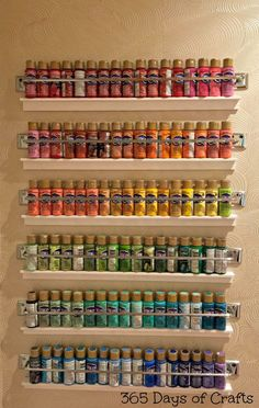 craft room storage ideas and tour of my creative space Take a look at this fun craft room tour by 365 Days of Crafts! This paint storage is a thing of beauty! The post craft room storage ideas and tour of my creative space appeared first on Storage ideas. Craft Room Storage, Craft Organization, Diy Storage, Craftroom Storage Ideas, Organizing Art Supplies, Cool Storage Ideas, Creative Storage, Creative Ideas, Fabric Storage