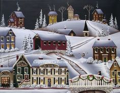 Folk Art Print Christmas in Fox Creek Village by catherineholman $16.95 use discount code PIN14 for 10% off