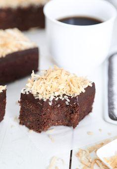 Dark Chocolate Coconut Fudge Brownies