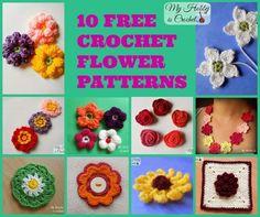 10 Free Crochet Flower Patterns by My Hobby is Crochet