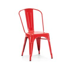 Dreux Stackable Glossy Red Steel Side Chair (Set of 4)