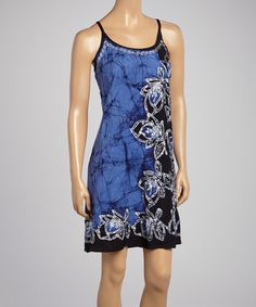 Look at this #zulilyfind! Black & Blue Floral Sleeveless Dress - Women #zulilyfinds