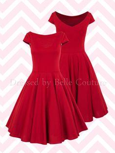 Basic Jersey Kleid Audrey in Rot mit kurzen Ärmeln  Handmade in Germany!!!!  Material: Jersey   - 50er Jahre inspiriertes Jersey Kleid mit