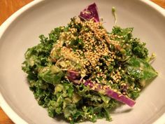 Easy Kale Salad with Creamy Miso dressing! :-)