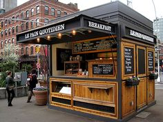 A food kiosk can be inserted into these pedestrian plazas as well