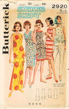 1960s Butterick 2920 Vintage Sewing Pattern Misses Skimmer Summer Shifts, Top Size 10 Bust 31