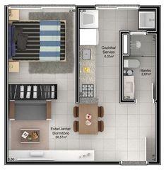 58 Ideas For House Plans Simple Layout Loft 3d House Plans, Best House Plans, Small House Plans, The Plan, How To Plan, Studio Type Apartment, Apartment Design, Apartment Living, Apartment Ideas