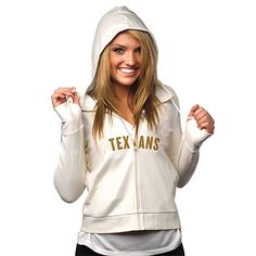 All Sport Couture Houston Texans Women's Play Action Full Zip Hoodie - Cream - $64.99