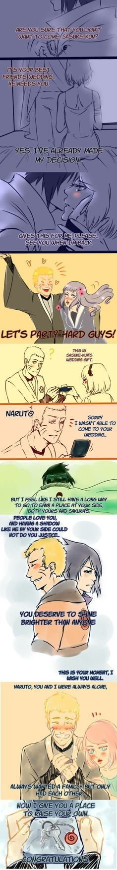 Why Sasuke was not at Naruto's wedding… The real reason is because Studio Pierrot hates Sasuke's guts…. I like to think this is what really happened.