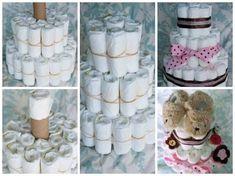 Complete a segunda camada; No topo do papelão coloque uma fralda enrolada; Faça a terceira camada (deve ser menor que a segunda), seguindo mesmo procedimento; Com fitas, esconda os elásticos utilizados; Para finalizar, coloque acessórios para decorar o bolo, como flores, sapatinhos e itens do bebê.  60 BOLO DE FRALDAS: Como Fazer, Modelos e Fotos! http://soloinfantil.com/?p=8800