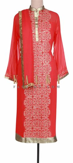 Buy Online from the link below. We ship worldwide (Free Shipping over US$100).  http://www.kalkifashion.com/red-semi-stitched-suit-embellished-in-sequin-only-on-kalki.html