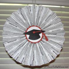 Grad Party Pleated Paper Medallions ~ Graduation Crafts **source: http://aheartfulloflove.com/grad-party-pleated-paper-medallions-graduation-crafts/