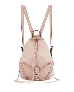 V34XW Rebecca Minkoff Julian Medium Leather Backpack, Vintage Pink