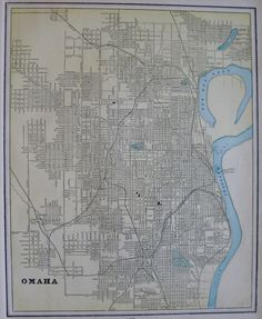 1900 Vintage Omaha Nebraska Map Original Map Of Omaha City Map 1060