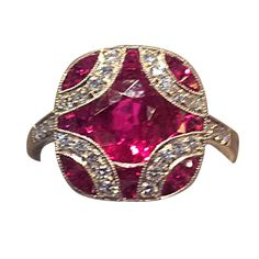 Ruby Diamond Platinum Ring   From a unique collection of vintage more rings at https://www.1stdibs.com/jewelry/rings/more-rings/