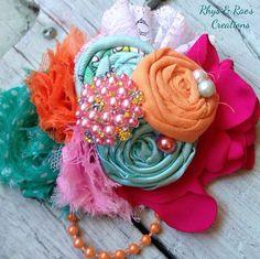 Orange, Fuchsia, Mint Green, Aqua, Rosette Fabric Flowers with Chiffon & Lace, Girls Headband, Flower Hair Clip, Flower Brooch, Baby's  on Etsy, $18.00