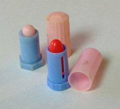Vintage Toy Lipsticks 1960s Plastic Doll Pretend