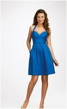 Lora bridal satin sweetheart cornflower blue. Maybe something like this for the bridesmaids. It's got a lighthearted look to it that I like.