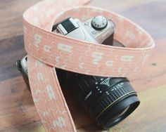 dSLR Camera Strap - Coral Herringbone - Pink Camera Strap dSLR - Valentine's Day Gift for Photographers - pinned by pin4etsy.com
