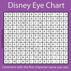 Disney eye chart. Mine was Mickey!