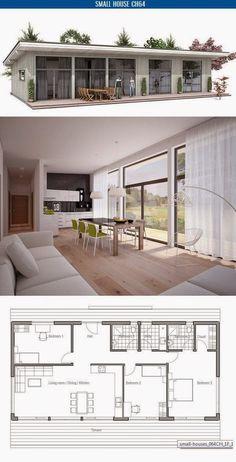 Planta con tres habitaciones y cocina integrada.