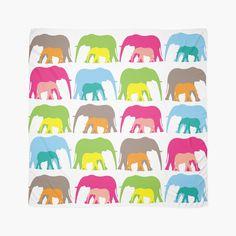 Elephants - Scarf - Multicolour - http://annumar.com/en/designs/elephants-scarf-multicolour
