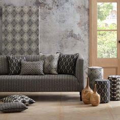 Warwick Fabrics : ADITI Living Room Red, Living Room Decor, Dining Room, Caravan Upholstery, Wooden Sofa Set Designs, Geometric Furniture, Warwick Fabrics, Fabric Sofa, Upholstered Chairs