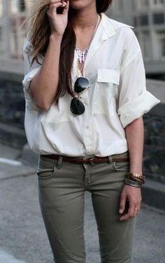 military green skinnies, silk safari shirt, aviators