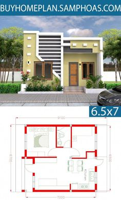 Simple House Plan with Two Bedrooms Feet - Samphoas.Com cabane Modern House Floor Plans, Simple House Plans, My House Plans, Home Design Floor Plans, Duplex House Plans, Modern Small House Design, Simple House Design, House Front Design, Cottage Plan
