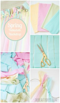 Learn how to make this Easy Spring Backdrop with Tablecloths. Super fun to make and the perfect pop of color for your party, dessert table, or diy photobooth! - Easy Spring Backdrop with Tablecloths Tablecloth Backdrop, Diy Backdrop, Easter Backdrops, Backdrops For Parties, Frozen Decorations, Birthday Decorations, Decoration Party, Diy Fotokabine, Party Kulissen