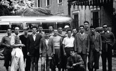 Pavarotti (far right) and friends wait to get on a bus, 1951