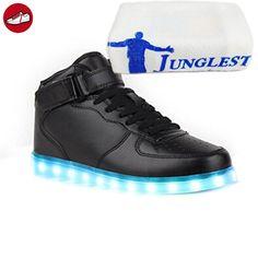 [Present:kleines Handtuch]Schwarz 43 Leuchtende Schuhe Light Sneakers Top Led Blinkende Neu Licht JUNGLEST Damen Farbwe 86lIrPPv