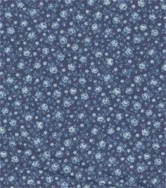 Keepsake Calico Fabric-Navy With Blue Roses