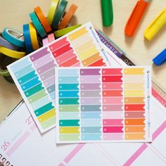 40 Short Page Flags Colourful - Sticker Planner by FasyShop on Etsy