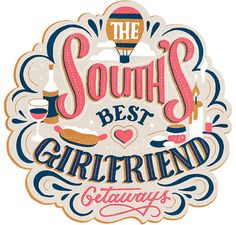 Southern Living Girlfriend Getaways hand-lettering and illustrations by Jill De Haan Types Of Lettering, Brush Lettering, Lettering Design, Calligraphy Letters, Typography Letters, Typography Inspiration, Graphic Design Inspiration, E Design, Logo Design