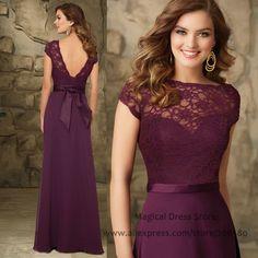 2016 Lace Long Eggplant Bridesmaid Dresses Cap Sleeve Backless Wedding Party Dress Floor Length Bow Vestidos De Madrinha BM452