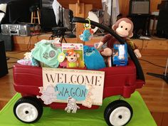 Welcome wagon.fill it with books, toys, bibs, diapers, wipes and Just Play With Me! Diy Baby Gifts, Baby Crafts, Craft Gifts, Cute Gifts, Baby Shower Parties, Baby Boy Shower, Baby Shower Gifts, Baby Showers, Welcome Wagon