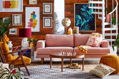 Drew Barrymore is taking her talents into the realm of interior design. The actress just launched a home collection with Walmart (and it's good). Living Room Sofa, Living Room Decor, Blush Sofa, Pink Sofa, Drew Barrymore, Deco Design, Home And Deco, Vases Decor, Inspired Homes