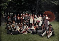 A large group of peasants pose at the Geneva folk costume festival in Switzerland.Photograph by Hans Hildenbrand, National Geographic