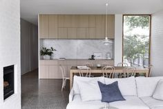 Brighton House by Rob Kennon Architects takes cues from the coast, fusing a traditional palette and creating spaces of controlled openness and retreat. Brighton Houses, Melbourne Suburbs, Australian Architecture, Concrete Slab, Create Space, Architect Design, Living Area, Living Room, Foto E Video
