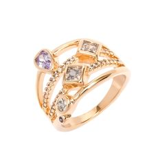 International 18K Goldplated White and Purple Cubic Zirconia Ring (Size 9), Women's, Gold