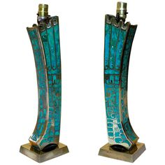 Bronze/Turquoise Table Lamps by Pepe Mendoza, Mexico City, c.1950's | From a unique collection of antique and modern table lamps at http://www.1stdibs.com/furniture/lighting/table-lamps/