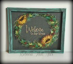 Welcome to our home signWelcome signporch by RebecaFlottArts Old Windows Painted, Painted Window Screens, Window Art, Window Ideas, Vintage Doors, Antique Doors, Summer Chalkboard, Hand Painted, Painted Wood