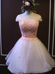 Short White tulle homecoming dress,pink cute  lovely popular homecoming dress, custom cheap homecoming dress,junior prom dress,HD1733