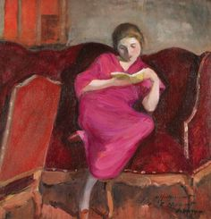 Woman sitting on a sofa, reading (1920). Henri Lebasque (French, 1865-1937). Oil on panel. Lebasque adopted elements of the Fauvist style, such as the flatness of color and form, but in a much subtler manner. Along with this, he participated in the collective exhibitions organized in Paris, such as the Salon des Indépendants and Salon des Artists Française. Lebasque portrayed women and children in his paintings with great hope and joy in colorful and intimate scenes.